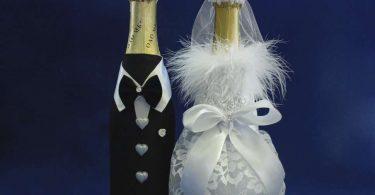 Украшение шампанского лентами | Как украсить шампанское на свадьбу своими руками