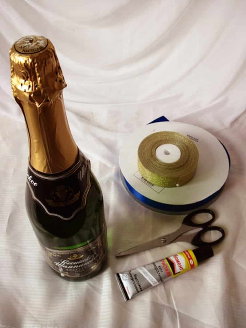 Советы для начинающих | Как украсить шампанское на свадьбу своими руками