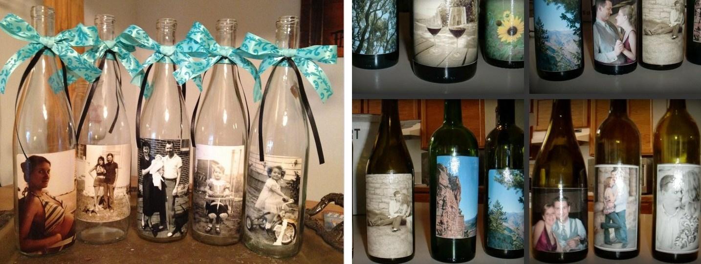 Украшение фотографиями | Как украсить шампанское на свадьбу своими руками