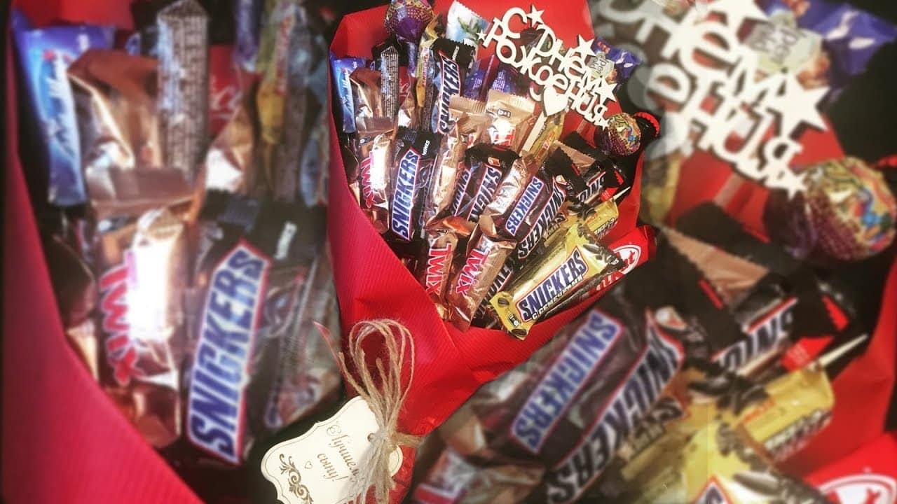 Букет из конфет и шоколадок своими руками