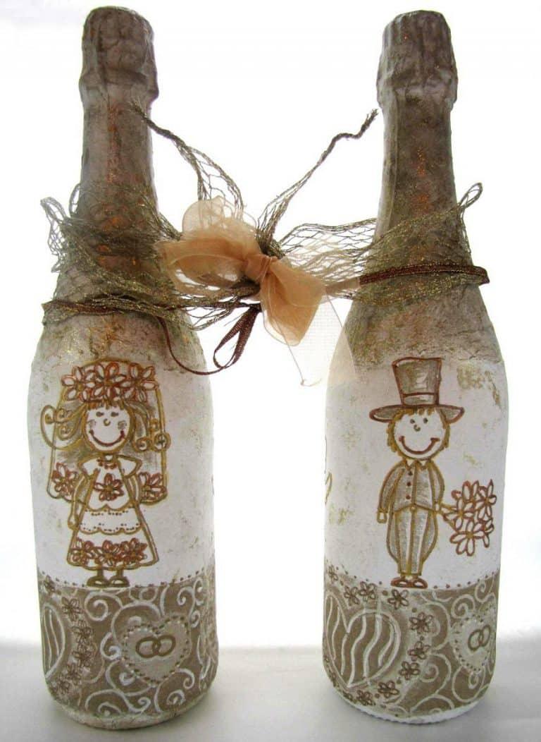 Роспись бутылок | Как украсить шампанское на свадьбу своими руками