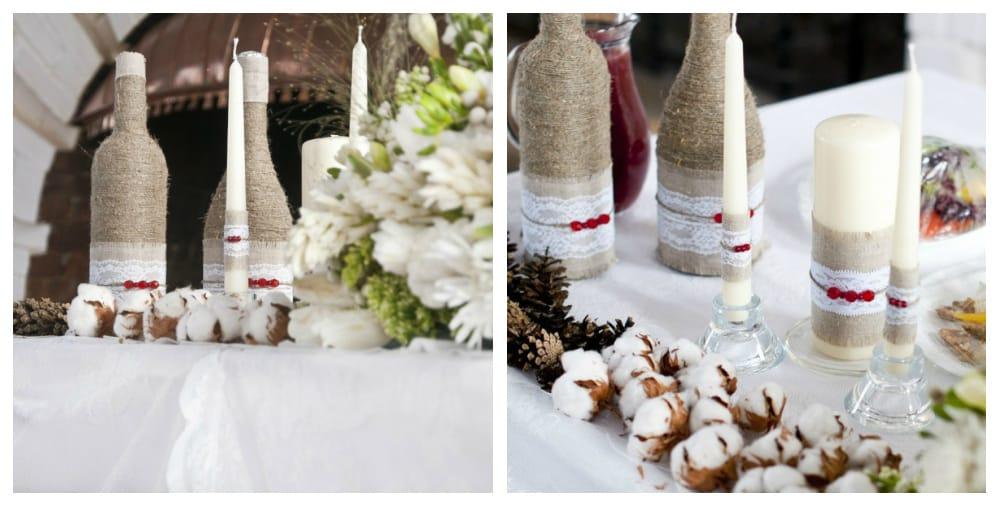 Шампанское в стилях «рустик» и «natural» | Как украсить шампанское на свадьбу своими руками