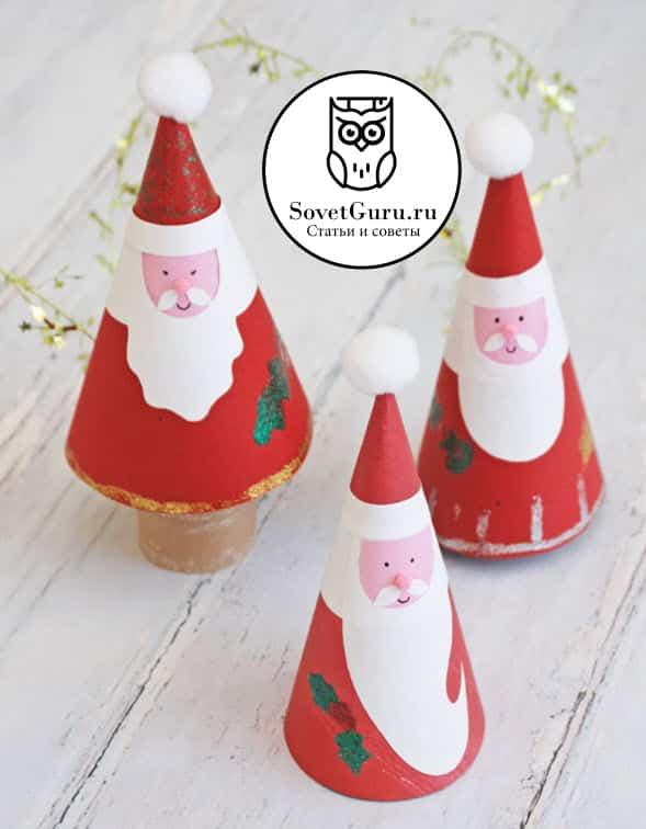 Дед Мороз из конуса бумаги своими руками | Как сделать конус из бумаги пошаговая инструкция