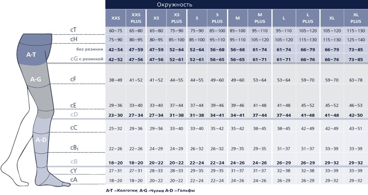 Замеры для компрессионных чулок, как подобрать правильный размер | Как подобрать компрессионные чулки по размеру