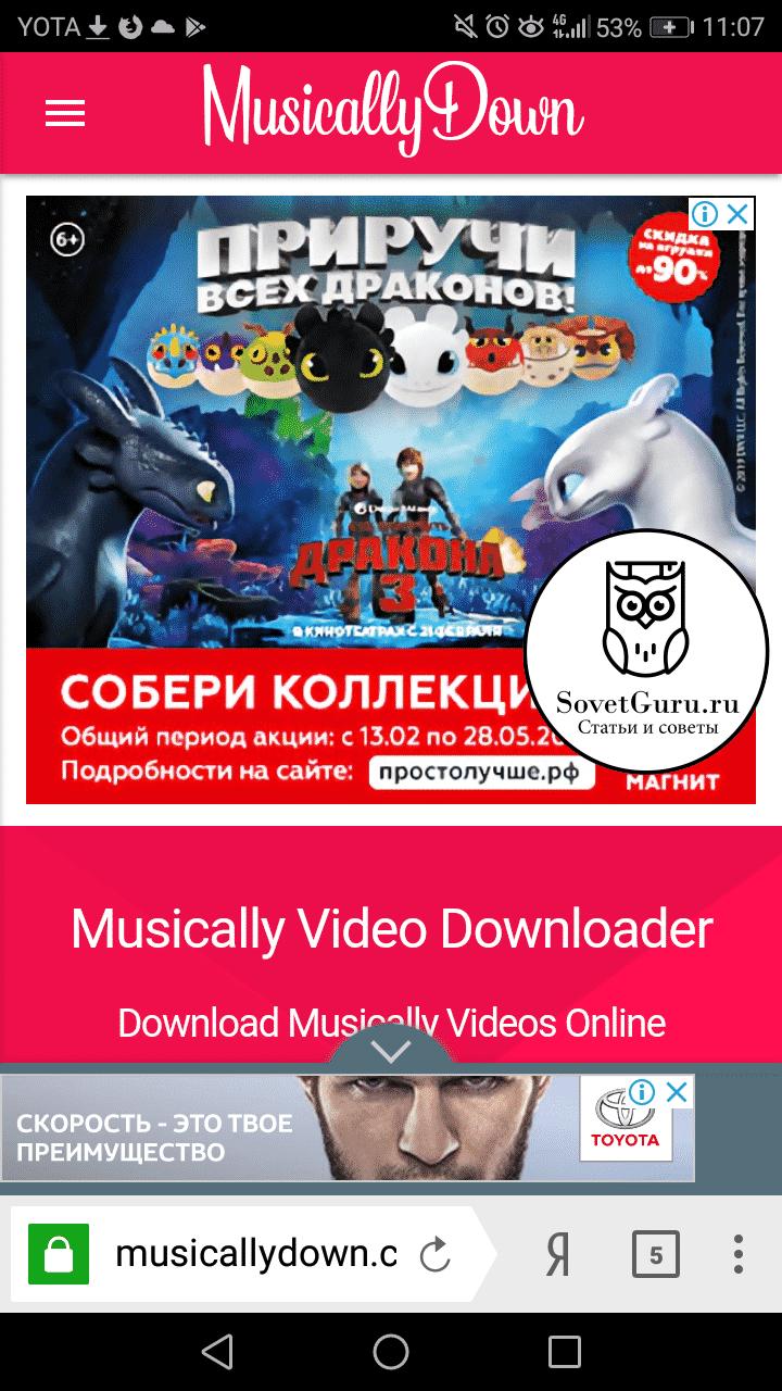 Как сохранить видео с Тик Ток через сайт MusicallyDown